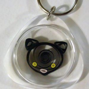Portachiavi con testa di gatto nero - www.quillingmesoftly.com
