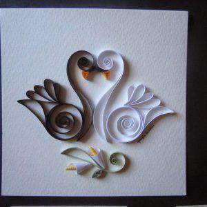 Cigno bianco e cigno nero - White swan and black swan - www.quillingmesoftly.com
