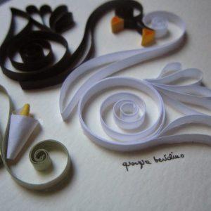 Close-up cigno bianco e cigno nero - White swan and black swan - www.quillingmesoftly.com