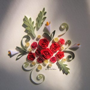 Bouquet rose rosse moderno - www.quillingmesoftly.com